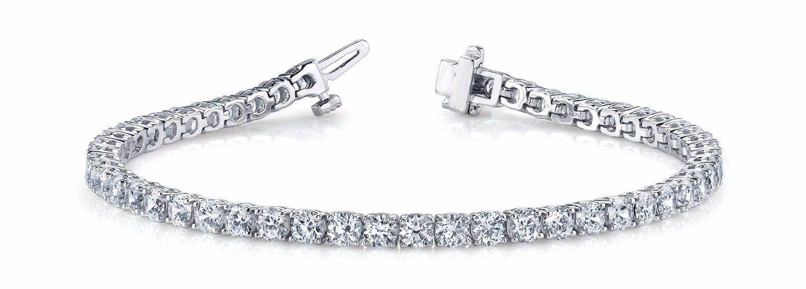 14k White Gold Ladies 1 Row Tennis Diamond Bracelet 7 Inches 1.95 CT
