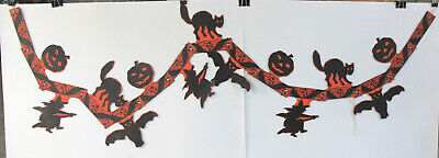 1940-50s Halloween Garland w/ JOLs, Bats, Cats, and Witches 60+ Inches Long