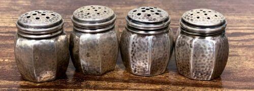 """4 - VTG Estate Webster Sterling Silver Miniature 1 1/8"""" Salt & Pepper Shakers!"""