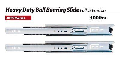 "One Pair (2pc) - 8"" 100lb Heavy Duty Full Extension Ball Bearing Drawer Slides"