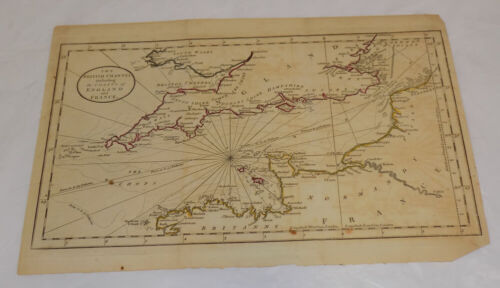 c1758 Antique COLOR Map/BRITISH/            ENGLISH CHANNEL w/COASTS OF ENGLAND