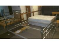 A brand new good quality stylish chrome super king size bed frame.
