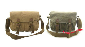 Mens-Canvas-Shoulder-Messenger-Satchel-Bag-Black-Khaki