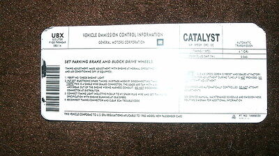 1985 Chevrolet Camaro Iroc Emissions Specifications Decal Sticker