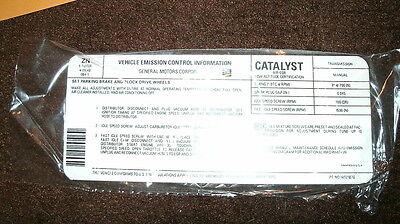 1980 Chevrolet Camaro Z-28 Z28 Z/28 Manual Transmission Emissions Specs Decal
