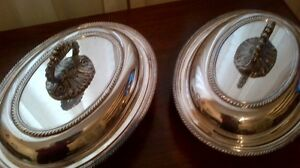 Silver covered entree dish