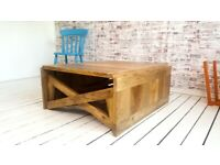 Modern Living Extending Desk Table Coffee Table and Dining Table in One! Rustic Mid-Century