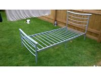 Single metal bed frame and mattress if required