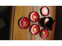Vintage Collectible Set Of 6 Red Chinese Coasters With A Box