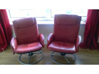 Ikea Red leather reclining/swivel chairs