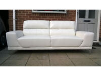 A Brand New Manhattan 3 Seater Ivory Leather Sofa