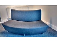 Curved sofa in grey fabric ( 2 available)