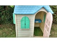 Yellow little tikes country cottage play house outdoor garden