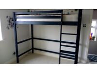Cabin Bed - 170cm high - Blue wooden - Mattress included - Good condition