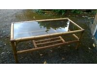 Coffee table, Glass top and bamboo frame.