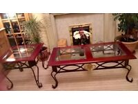 BEAUTIFUL SET OF COFFEE TABLE/OCCASIONAL TABLE/ANTIQUE EFFECT METAL BASE DARK WOOD& TEMPERED GLASS++