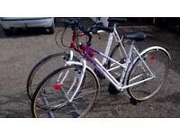 LADIES AND GENTS HYBRID ROAD /TOWN BIKES seldom used new condition