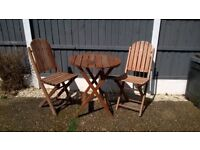 LOVELY SET OF WOODEN FOLDING TABLE AND 2 CHAIRS
