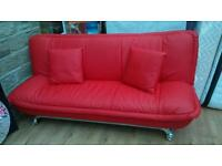 Red Leather Sofa (bed)