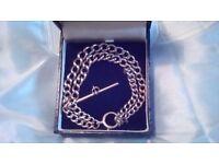 Gorgeous, Edwardian Royal Albert watch chain bracelet 32gm stamped
