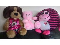 3 cuddly soft toys, see details for prices