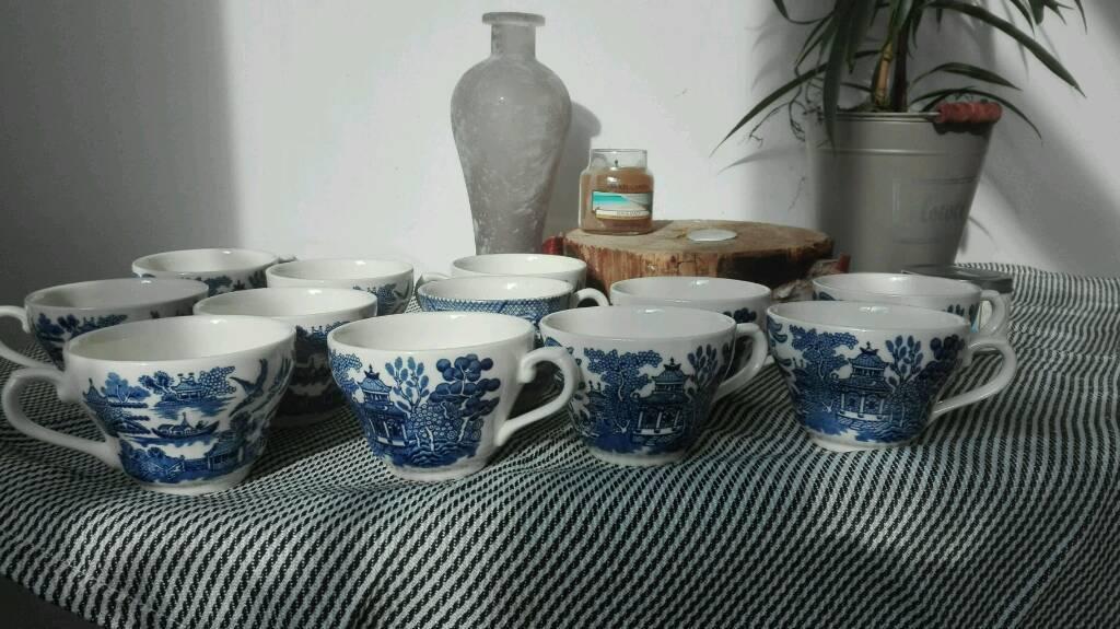 Churchill Vintage Georgian Blue teacup full set 12 pcs