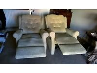 Reclining Arm Chairs Pair of - will sell singulary - From Heritage & Wise