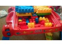 Mega bloks build and learn table and wagon trolley lego blocks