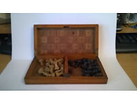 175*110*30 mm Wooden travelling chess set.Indian circa 1940 s