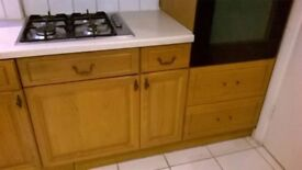Oak Kitchen units ( base &wall) for sale- plus gas hob,, double oven, dishwasher & 1.5 sink