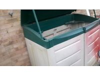 GARDEN CABINET NEEDS A BIT OF WORK HINGES ARE BROKE BUT STILL WORKS OK ALSO RED PAINT NEEDS