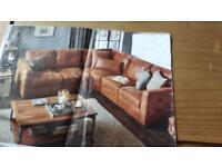 DFS tan leather corner sofa