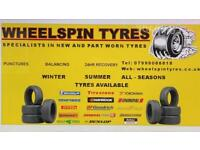 WheelSpin Tyres. Specialists In New And Part Worn Tyres. Puncture Repairs Available.