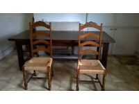 large dinnung table and 6 chairs