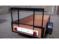 CAR TRAILER 8FT X4FT JUST BEEN FULLY REFURBISHED ALL NEW SEE PIC ramp back door