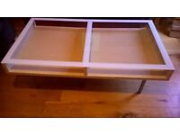 Large Ikea coffee table in light wood with glass top 135cm x 75cm
