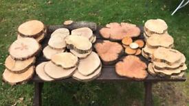 Wood Log Slices & Cake Stands