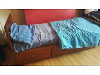 Small single mahogany bed frame with three draws (mattress included)