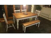 Stunning Farmhouse Dining table with bench and chairs