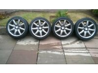 """mini cooper 17"""" crown alloy wheels and tyres 4x100"""