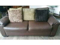 Reduced !3 and 2 seater Brown Leather Sofa