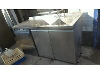 Commercial double bowl sink with 2 doorsuppliers cupboard dishwasher space