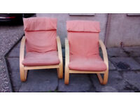 2 wooden frame upholstered chairs FREE