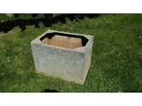 Old Vintage Galvanised water tank / planter, riveted / studded tank