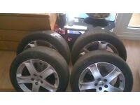 Peugeot 407 genuine alloy wheels set,tyres,215/55/17