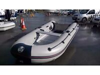 Yamaha 360 Solid inflatable rib boat tender with launch wheels