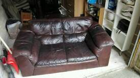 2x Leather Sofas + footstool