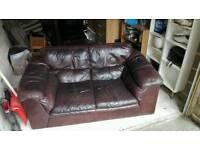 2x Leather Sofas + footstool