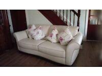 Italian leather cream 3 piece sofa suite as new