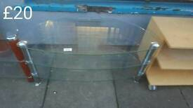Clear glass TV stand 2 half price free delivery in leicester